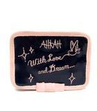 アーカー AHKAH ジュエリーポーチ アクセサリーケース エナメル 刺繍 紺 ネイビー ピンク /TK ■BR