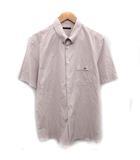 ルイヴィトン LOUIS VUITTON シャツ 半袖 ボタンダウン ストライプ L ピンク ホワイト 白 /KH