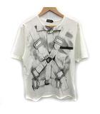 アンダーカバー UNDERCOVER Tシャツ カットソー プリント 半袖 L 白 グレー /YM