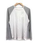 クロムハーツ CHROME HEARTS Tシャツ カットソー 長袖 CHクロス バイカラー S 白 ホワイト グレー /KH ●D