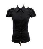 プラダ PRADA ブラウス シャツ 半袖 36 黒 ブラック /KH ●D