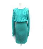 ブルマリン Blumarine ワンピース ドレス ひざ丈 レース 刺繍 長袖 40 ライトグリーン /YM