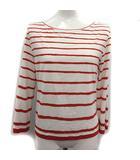 エルメス HERMES Tシャツ カットソー 七分袖 ボーダー ME 白 赤 ホワイト レッド /KH