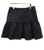 プラダ PRADA スカート ミニ フレア ウール 40 紺 ネイビー /EK