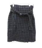プラダ PRADA 巻きスカート ひざ丈 フレア チェック ウール S ネイビー 紺 /MF32