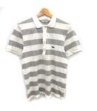 メゾンキツネ MAISON KITSUNE ポロシャツ 半袖 ボーダー 刺繍 L グレー ホワイト 白 /KH
