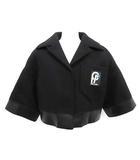 プラダ PRADA 18AW コート ショート 七分袖 ワッペン ウール 36 黒 ブラック /KH