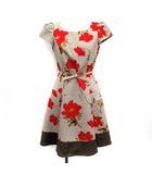 エムズグレイシー M'S GRACY ワンピース フレア ひざ丈 花柄 半袖 36 薄茶 赤 /YM