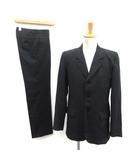 アニエスベーオム Agnes b. homme スーツ セットアップ 上下 ストライプ ジャケット パンツ スラックス 46 38 黒 ブラック /TK