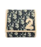 クリスチャンディオール Christian Dior 財布 トロッター 二つ折り Wホック 2 紺 ネイビー アイボリー /KH