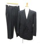 ジャンニヴェルサーチ ヴェルサーチェ GIANNI VERSACE スーツ セットアップ 上下 テーラードジャケット ダブル パンツ スラックス ウール 52 黒 ブラック /MF7