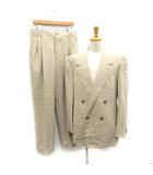 ジャンニヴェルサーチ ヴェルサーチェ GIANNI VERSACE スーツ セットアップ 上下 テーラードジャケット ダブル 背抜き パンツ スラックス ウール 52 ベージュ /MF22