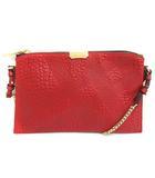 バーバリー BURBERRY ショルダーバッグ チェーン PEYTON SG GRAIN CHECK SMALL WRISTLET 赤 レッド /MF37