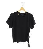 ルイヴィトン LOUIS VUITTON 19SS ベルト装飾Tシャツ カットソー 半袖 スタッズ XS 黒 /MY ■OS☆