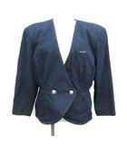 レオナール LEONARD ジャケット ノーカラー ダブル 七分袖 シルク 13AB3 紺 ネイビー /KH ■CA