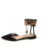 クリスチャンディオール Christian Dior パンプス フラット レースアップ ポインテッドトゥ ロゴテープストラップ 36 黒 ブラック パリ製 /YO24◎