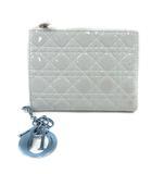 クリスチャンディオール Christian Dior 財布 二つ折り レディディオール ロゴ 水色 25ma1116 /SR ◎