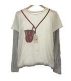 グッチ GUCCI キッズ SKIPASS Tシャツ カットソー フェイクレイヤード 長袖 12 白 ホワイト グレー /EK