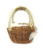 エバゴス EBAGOS かごバッグ ハンド スワンかぶせ小ぶりバッグ 茶 ゴールド色 /YI34 ◎