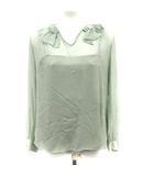 ブラウス シャツ シルク シースルー キャミソール付き フリル 長袖 緑 /YI21