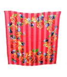 イヴサンローラン YVES SAINT LAURENT スカーフ 大判 花柄 ストライプ シルク 赤 レッド /KH ■OH ■WY