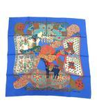 エルメス HERMES スカーフ カレ90 ART des STEPPES ステップ美術 シルク 青 ブルー /KH ■OH ■WY