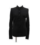 ポロシャツ ニット 長袖 ココボタン ウール S 黒 ブラック /KH