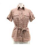 シャツ 半袖 ウエストリボン チェック 38 M ピンク /KT