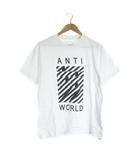 ナンバーナイン NUMBER (N)INE Tシャツ カットソー クルーネック ANTI WORLD 半袖 2 M 白 ホワイト /SR29