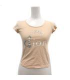 クリスチャンディオール Christian Dior 子供服 Tシャツ カットソー 半袖 ロゴ my dior ラインストーン カットオフ 12A 140cm ベージュ /KH ■EC