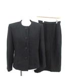 ソワール ペルル SOIR PERLE 東京ソワール TOKYO SOIR セットアップ 上下 ノーカラージャケット ロングタイトスカート ミモレ 9 M 黒 ブラック /PJ