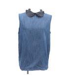 マルニ MARNI チュニック ノースリーブ フリル デニム 丸襟 イタリア製 S 青 ブルー /PJ