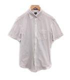 ポールスミス PAUL SMITH ボタンダウンシャツ 半袖 ストライプ L 白 赤 青 /PJ