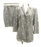 エスカーダ ESCADA 36 S セットアップ 上下 スーツ ジャケット テーラード スカート ミニ 花柄 刺繍 グレー /EK ■EC