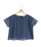 ビームスハート BEAMS HEART カットワークトップス ブラウス 半袖 プルオーバー 青 ブルー /MY