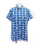 マンシングウェア MUNSINGWEAR ポロシャツ ラウンドカラー 半袖 マリン柄 ブランドロゴ 刺繍 L 青 ブルー 白 ホワイト /YT ■EC