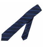 シャネル CHANEL ネクタイ 細身 ナロータイ レジメンタルストライプ シルク イタリア製 青 ブルー /BM19