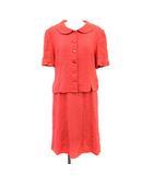 ヴィンテージ セットアップ 半袖 シャツ スーツ スカート ひざ丈 42 L 赤 レッド /☆G ■EC