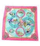 エルメス HERMES サーカス circus カレ スカーフ ピンク ミントグリーン 茶 ブラウン 青 ブルー /YT ■OH ■GY