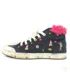 スプリングコート Spring Court × ツモリチサト TSUMORI CHISATO コラボ スニーカー デニム 刺繍 B1 MID CUT W TSUMORI 装飾 フリンジ ブルー 37 靴