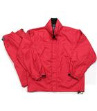 エーグル AIGLE セットアップ レイン スーツ ウエア ジャケット パンツ フード イージー アウトドア ナイロン 赤 レッド M