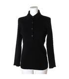 プラダ PRADA ポロシャツ カットソー ニット 長袖 リブ 胸ポケット ウール 黒 42 トップス IBS46