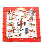 エルメス HERMES スカーフ カレ 90 シルク 100% LES OISEAUX DU ROY 王の鳥たち 赤 白 ☆AA★