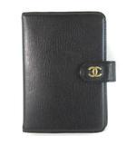 シャネル CHANEL 手帳カバー システム手帳 6穴 ココマーク レザー ゴールド金具 黒 ブラック