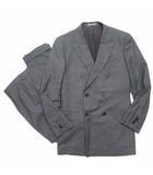 タケオキクチ TAKEO KIKUCHI PIACENZA スーツ セットアップ テーラード ジャケット ダブル 総裏 パンツ スラックス チェック ウール グレー IBO5