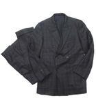 タケオキクチ TAKEO KIKUCHI SPORTEX by DORMEUIL スーツ セットアップ テーラード ジャケット ダブル 総裏 パンツ スラックス チェック ウール 黒 IBO5
