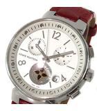 ルイヴィトン LOUIS VUITTON 腕時計 タンブール ムーンスター MM Q8G00 白文字盤 レザー ベルト モノグラム 茶 ブラウン 赤 レッド クォーツ 稼働品 箱付き
