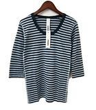 アタッチメント ATTACHMENT ボーダー 七分袖 Tシャツ 青 ブルー系 3 綿 コットン 日本製 新品同様 タグ付 トップス カットソー