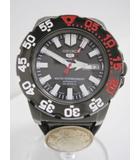 セイコー SEIKO ブラックモンスター 腕時計 黒×白×赤 ダイバーズウォッチ 自動巻 100m防水 革ベルト