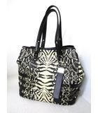 ジミーチュウ JIMMY CHOO アニマル柄 デザイントートバッグ 黒×麦色系 イタリア製 パイソン×麦わら かばん 鞄